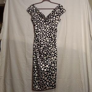 Black & off white multi size dots dress